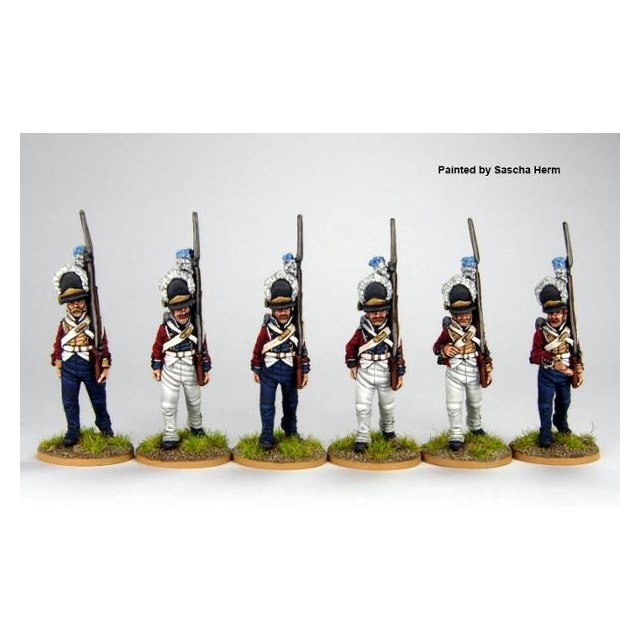 Norwegian Grenadiers in M1789 caps, marching 1803-08