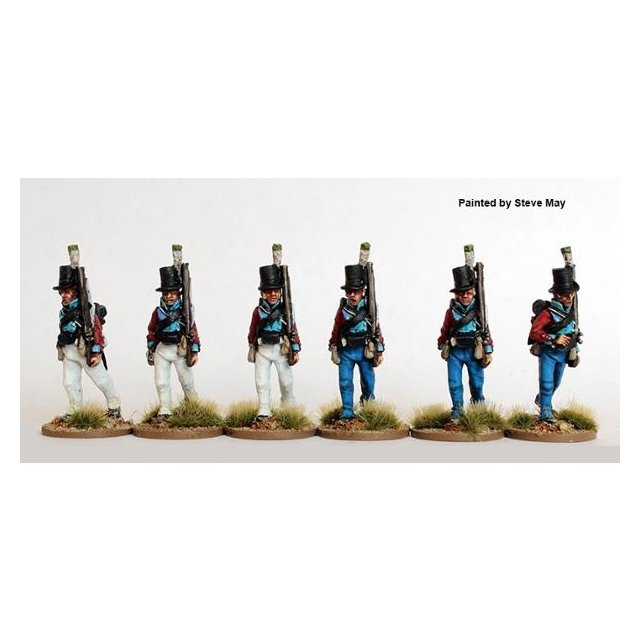 Regimental Sharpshooters in round hats, marching 1803-08