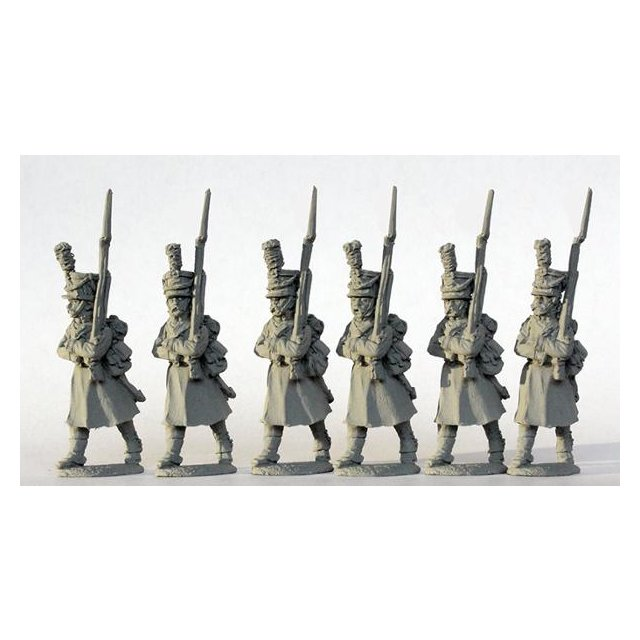 Grenadiers marching, shakos with bearskin plates, greatcoats 181