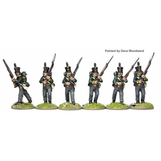 Dutch/Belgian Jagers/Chasseurs advancing high-porte