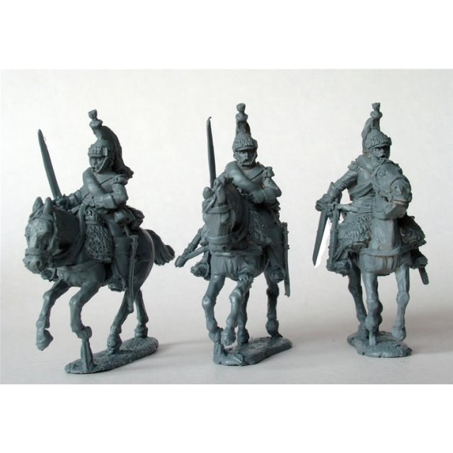 11th Cuirassiers galloping, swords drawn, no cuirass