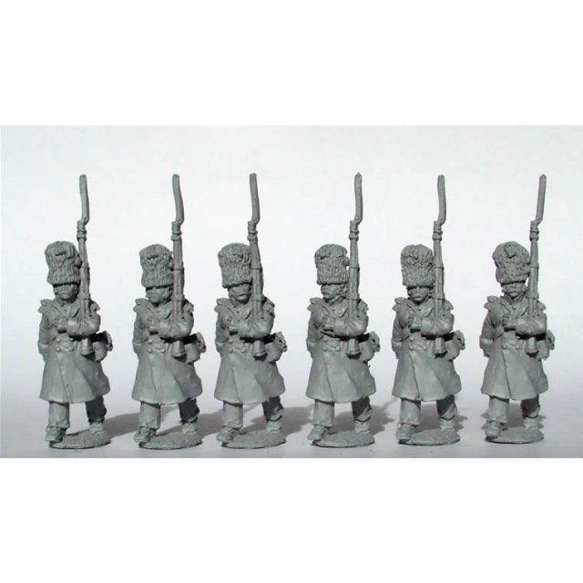 Chasseurs a Pied of the Imperial Guard in greatcoats, march att