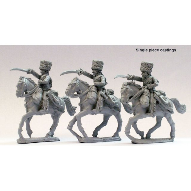 Chasseurs a cheval of the Imperial Guard in campaign dress charg