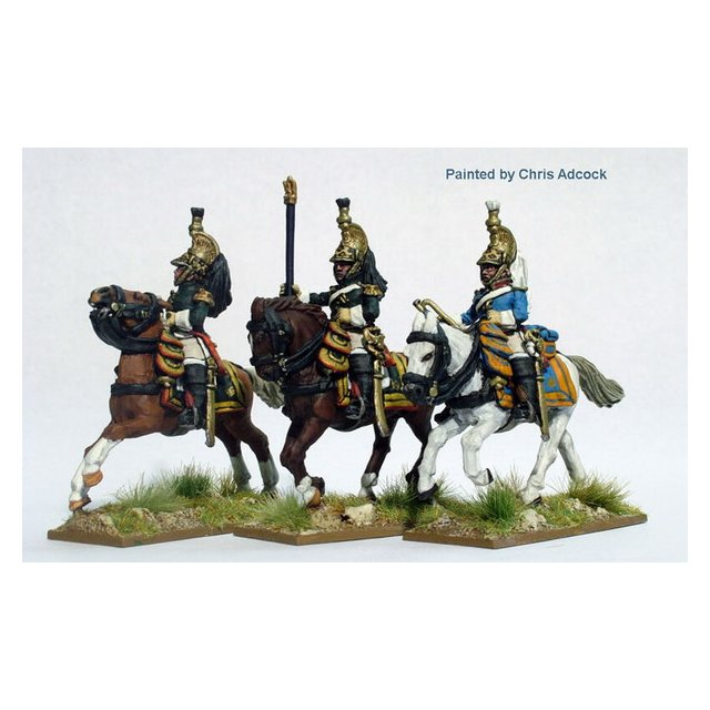 Dragoons of the Imperial Guard command in campaign dress, gallop