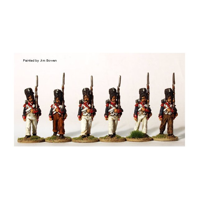 Grenadiers in pre 1812 campaign dress, bearskins, March Attack