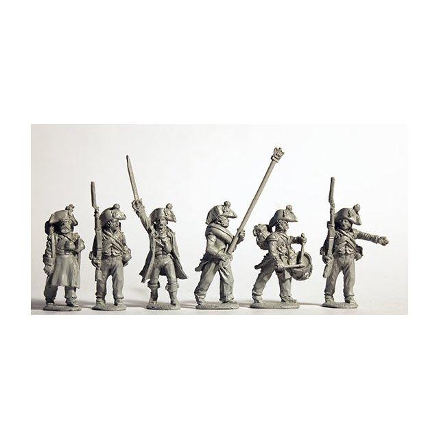 Infantry command advancing, bicornes, 1805-09