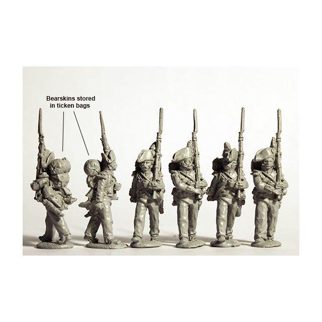 Grenadiers, march attack, bicornes, bearskins stowed on packs 18