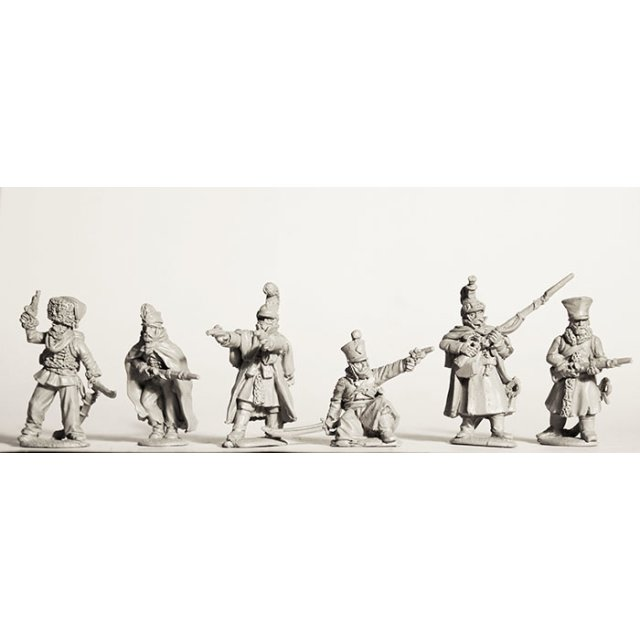 Dismounted cavalry in varied uniforms/clothing, skirmishing , Re