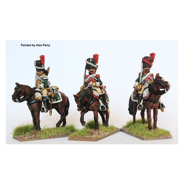 Dragoons, elite company in bearskins on standing horses, swords