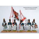 Infantry command standing, coatee and cylindrical shako