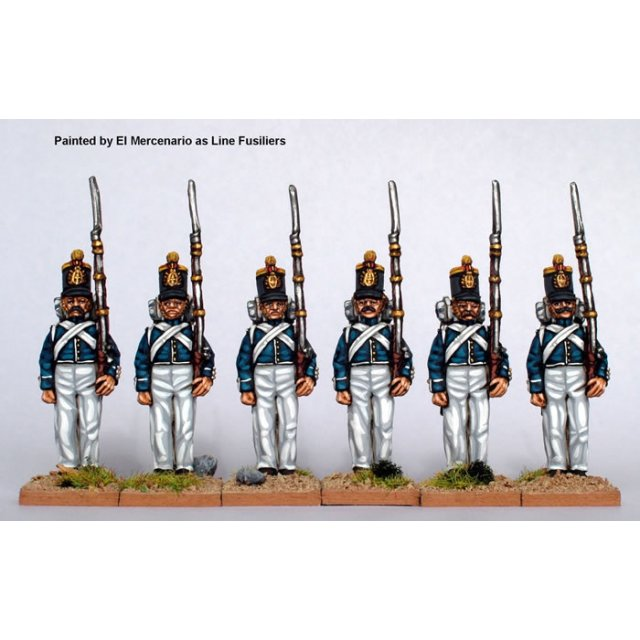 Infantry standing at attention, centre companies, coatee and cyl