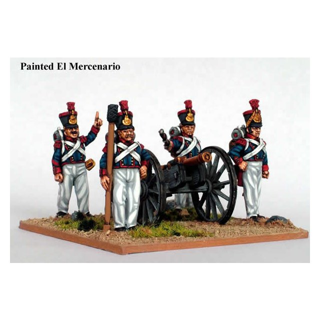 Foot artillery, coatees and early shako with French 6pdr