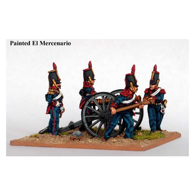 Horse artillery, coatees and tapered shako with British 6pdr
