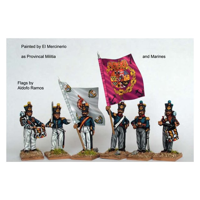 Infantry command standing, coatees and early bell top shakos