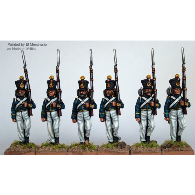 Infantry marching, centre companies, coatees and early bell top