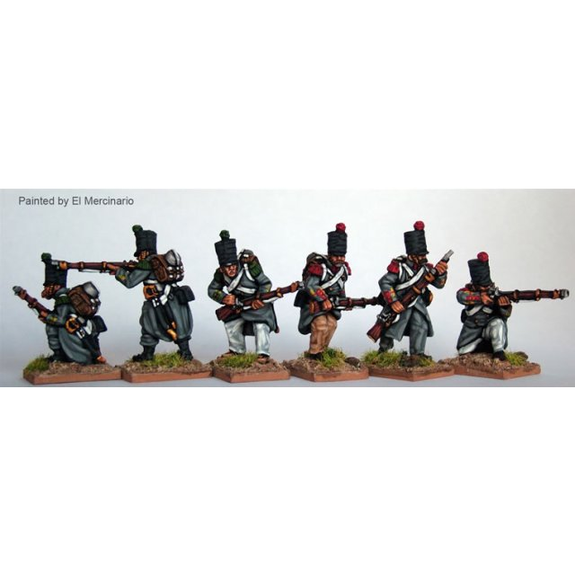 Infantry skirmishing, flank co, greatcoats and covered shako