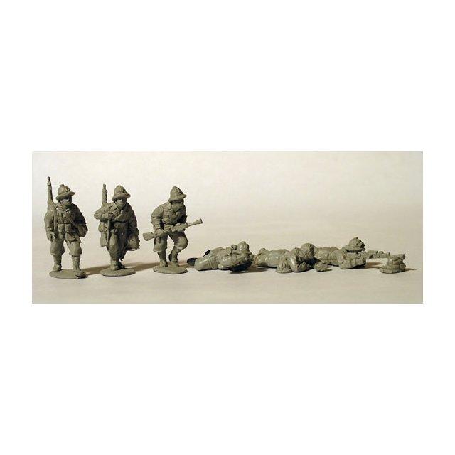 Italian Breda light machine gunners, tropical helmets