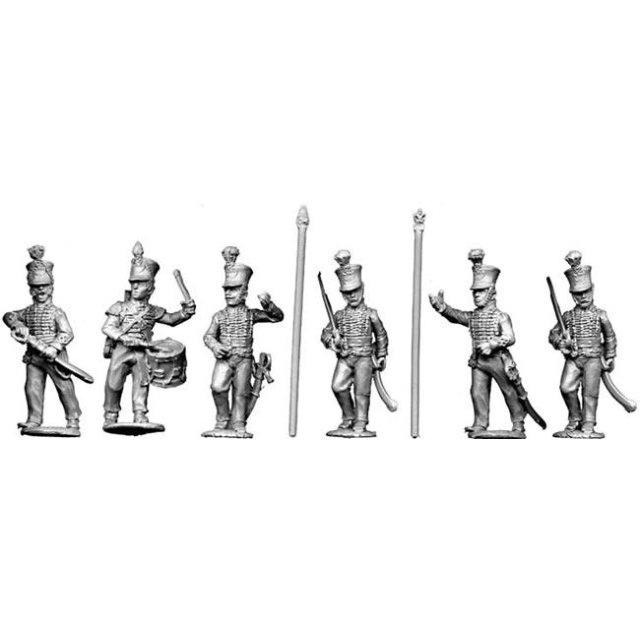 Line command, advancing (2 Officers, 2 Standard bearers, 2 Music