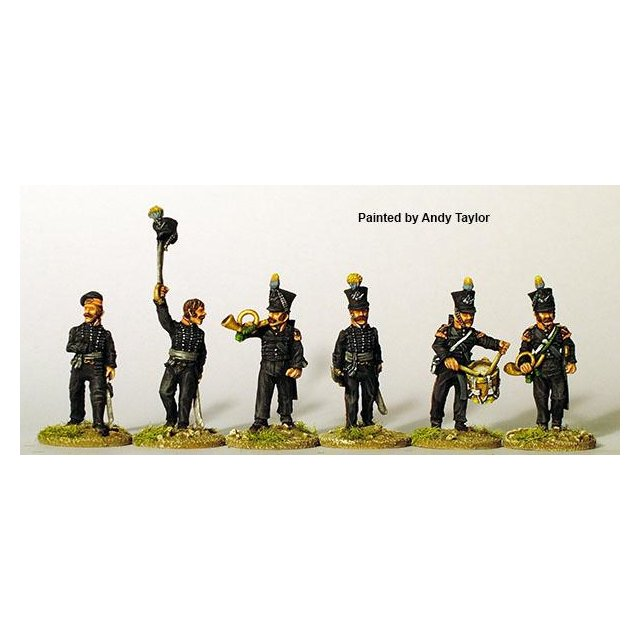 Light infantry command advancing (3 officers, 3 musicians)