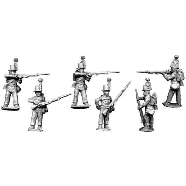 Light infantry, avantgarde firing line (3 firing, 3 loading)