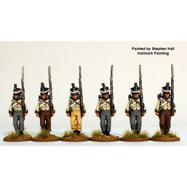 Lippe-Detmold Fusiliers marching, in shakos and overalls 1809-1