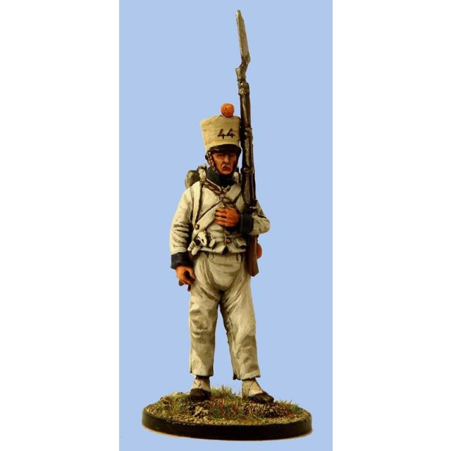 French Fusilier,sleeved waistcoat,covered shako,standing ,musket