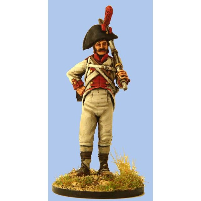 Spanish Fusilier in 1805 uniform and espadrilles standing,hand o