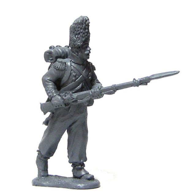 French Line Grenadier advancing ,leveled musket in habit and bea