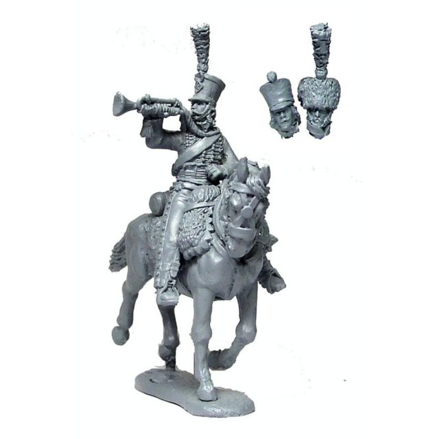 French Hussar Trumpeter (3 head variants: 2 shako 1 colpack)