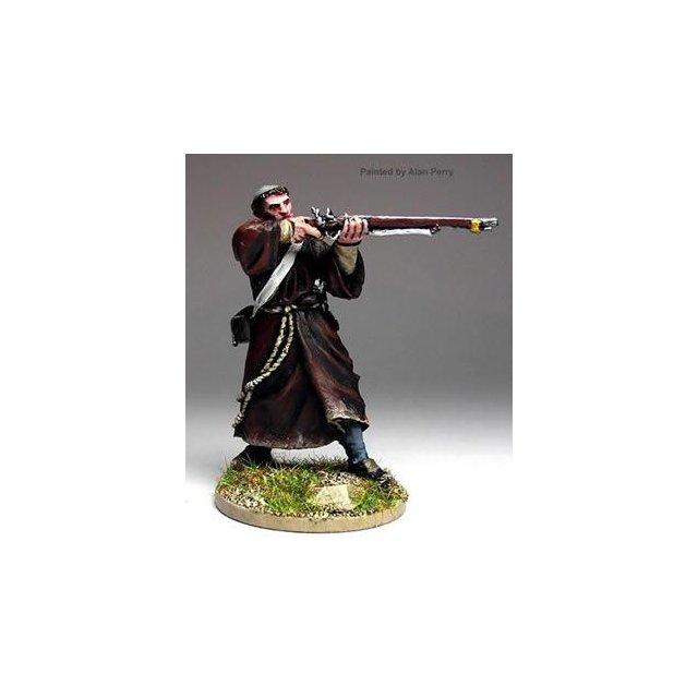 Armed monk firing musket