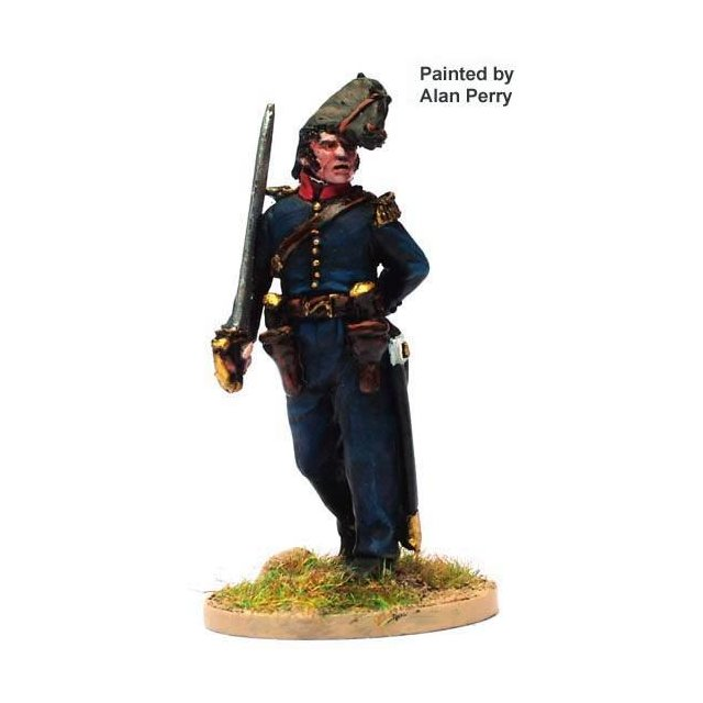 French Officer in bicorne advancing, sword shouldered with two h