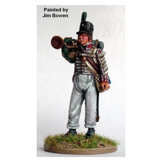British Light Infantry bugler,standing ,blowing bugle