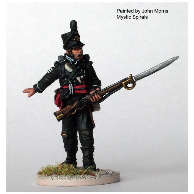 British Rifles sergeant standing, fixed sword-bayonet