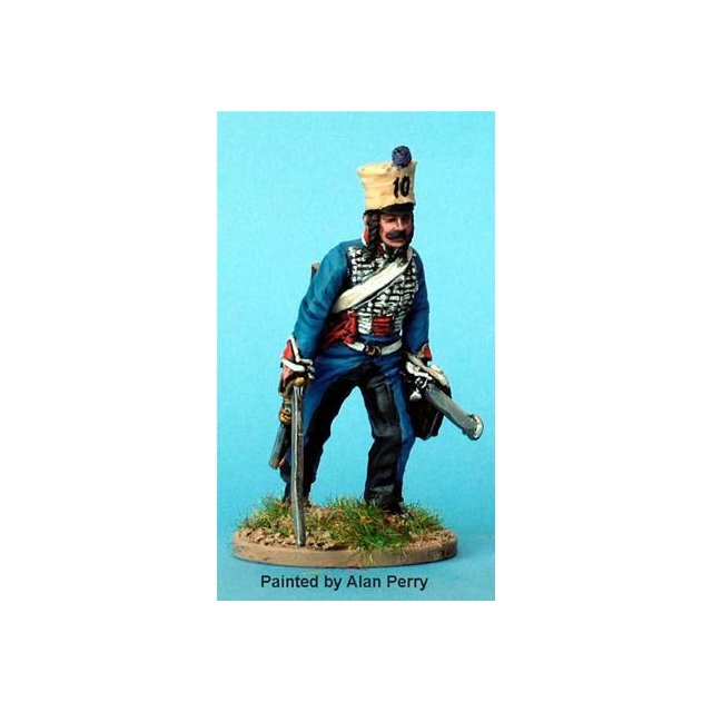 French Hussar, dismounted advancing with sword ( 2 headgear vari