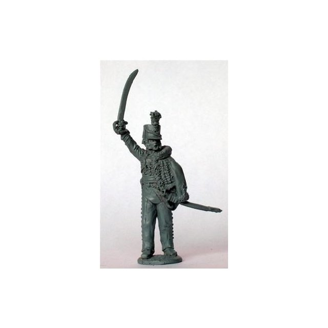 British Rifles Officer standing, sword raised, pelisse