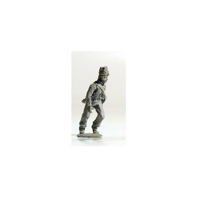 French Foot Artilleryman running up gun, handling trail spike, f