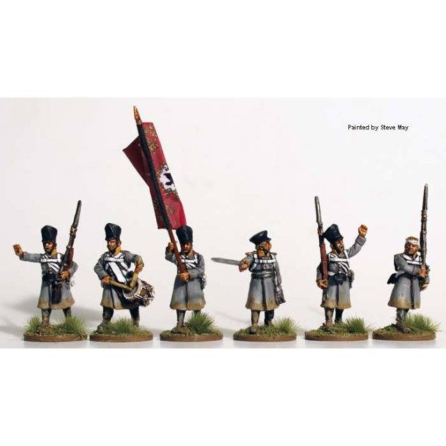 Musketeer command advancing wearing greatcoats