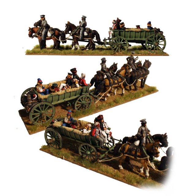 Four horse baggage wagon with casualties