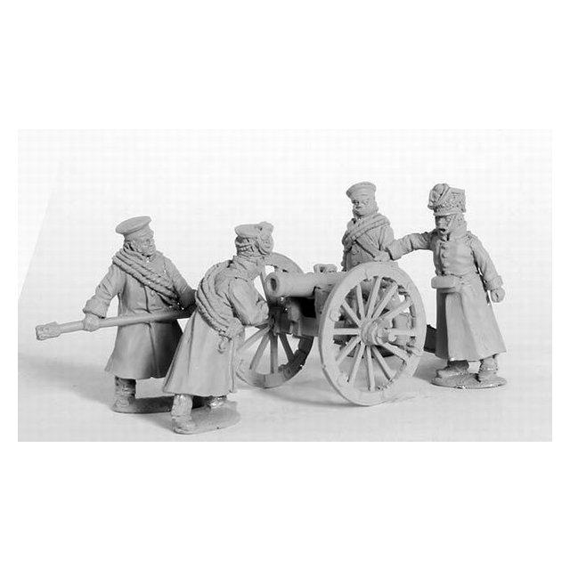 Foot Artillery in winter dress loading 10pdr Unicorn