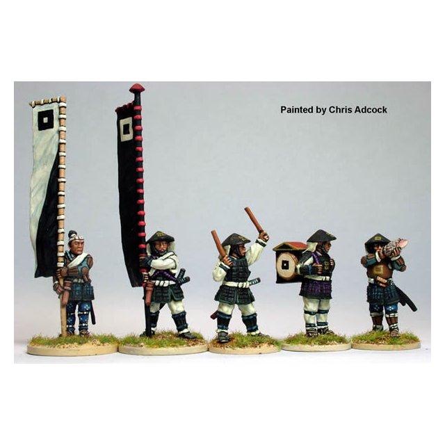 Ashigaru bannermen and musicians, standing