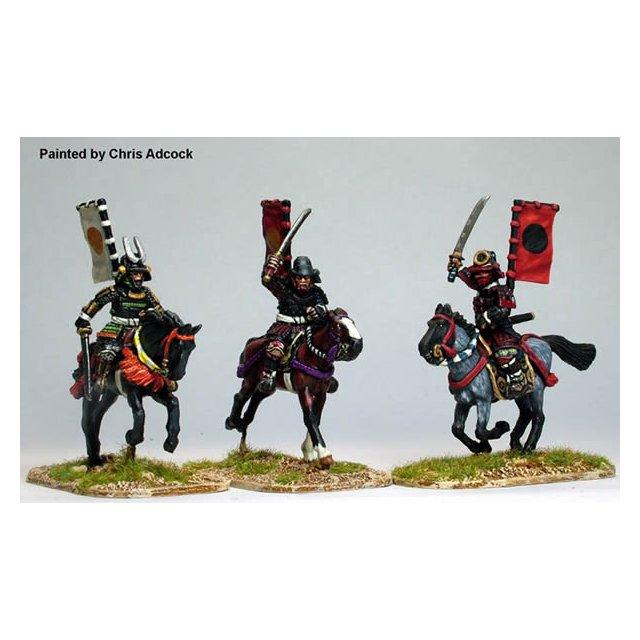 Mounted Samurai with swords (Katana) charging