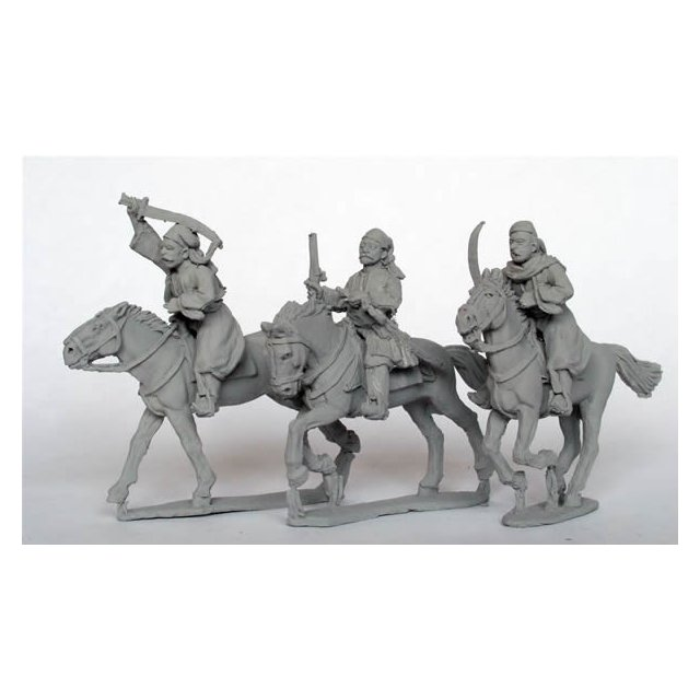 Mounted Bashi-Bazouks with swords and pistol