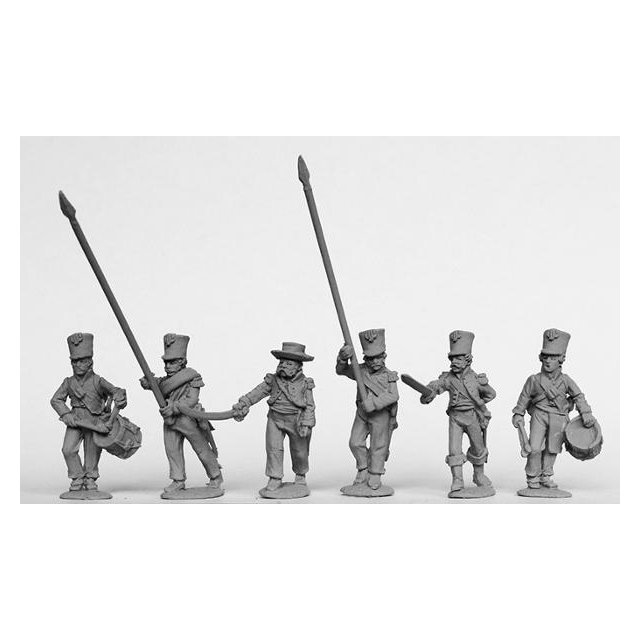 Infantry command in plain bell-top shakos and tailless jackets 1
