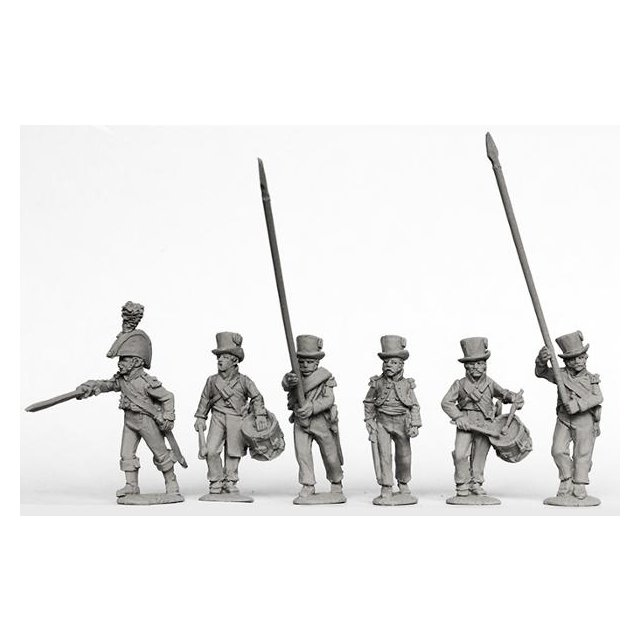 Infantry command advancing in round hats 1810-13 (for SPA 6 and