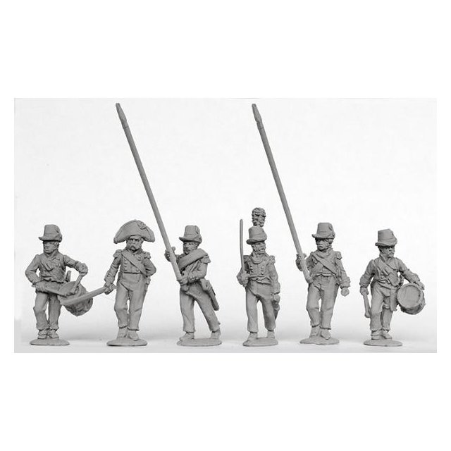 Infantry command advancing, Catalonian Legion in round hats and