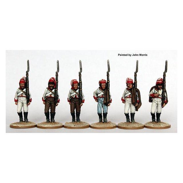 Fusiliers marching, Castropol Regiment in bonnet de police 1809