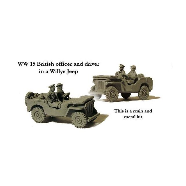 Willys jeep with officer and driver